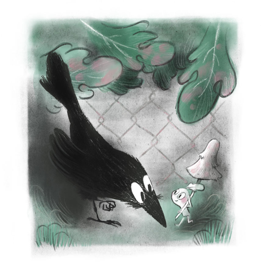 Crow and small sprite meeting at front of a fence.