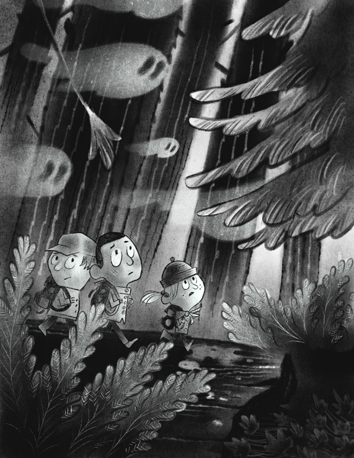Friends wandering in a dark forest and ghosts overhead.