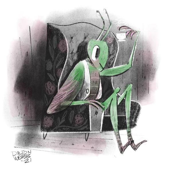 Grasshopper inviting someone for tea.