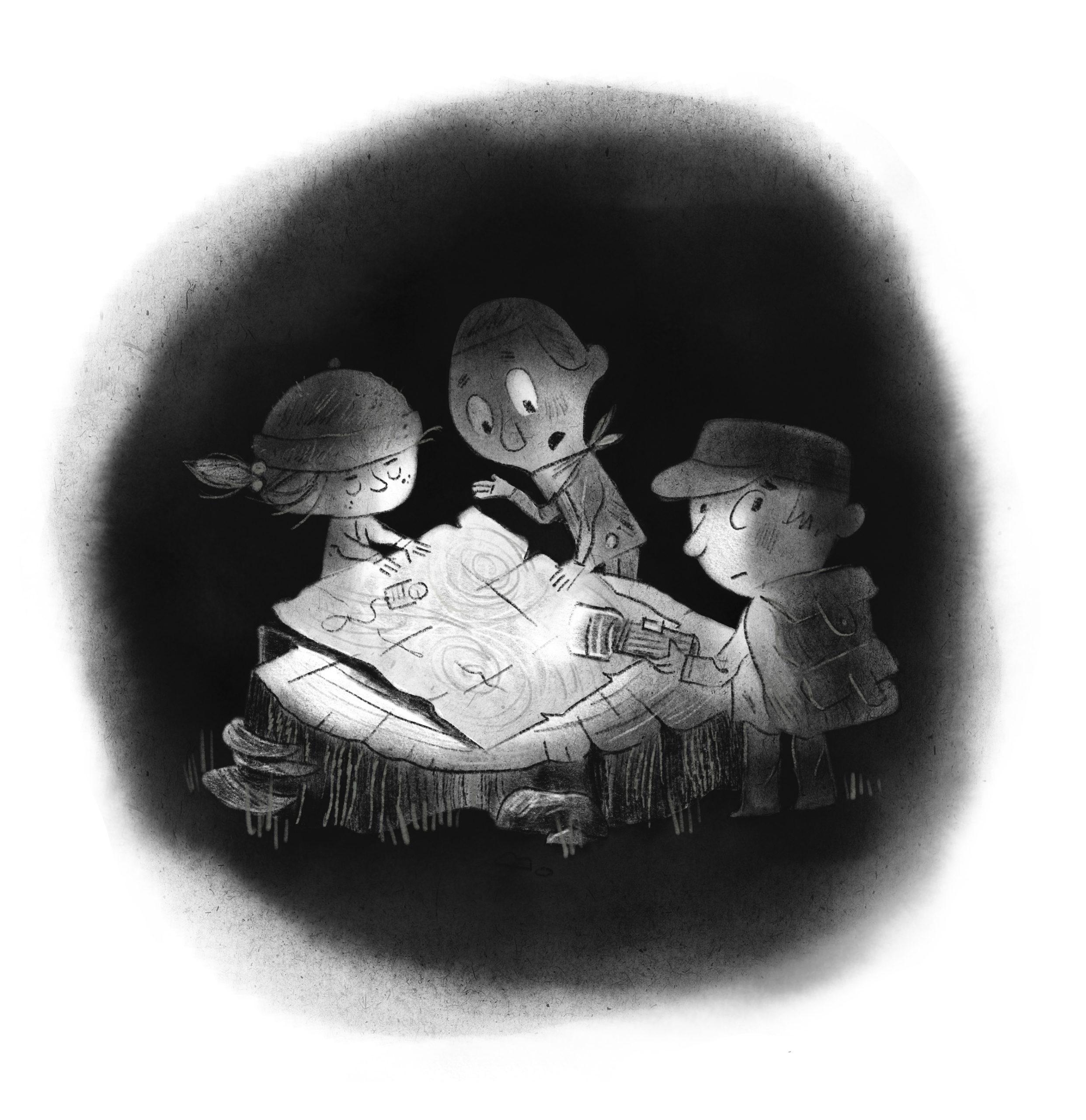 Kids look at a a map at night.