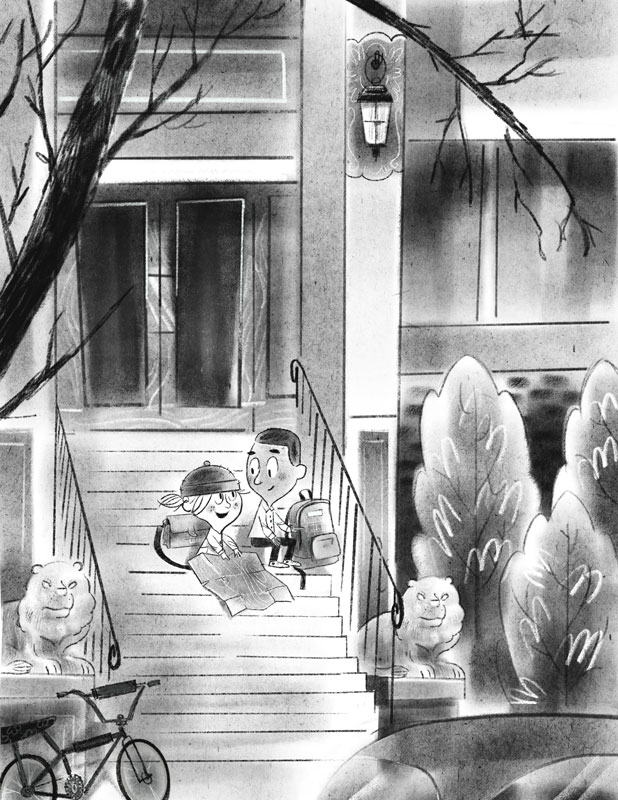 Two friends sitting on steps of an apartment building reading a map.